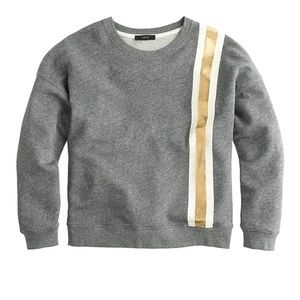 J. Crew | Racing Stripe Crop Sweatshirt Gray Gold